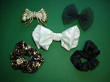 Set Haarspangen Haargummis schwarz gold Perlen Haar Schmuck Rose edel Nr.4