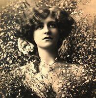 Miss Gabrielle Ray RPPC postcard antique actress portrait flowers cute