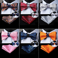 Mens Silk Bowtie Solid Paisley Double Side Self Bow Tie Handkerchief Set