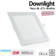 Downlight placa de LED CUADRADO 12W 60 LED techo cocina baño luz BLANCO CALIDO