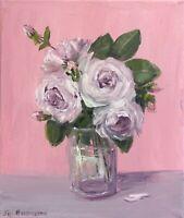 Original oil painting art on 40 x 30 cm canvas roses impressionism home decor