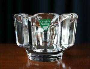 Vintage Crystal Candle Holder Orrefors With Green Sticker