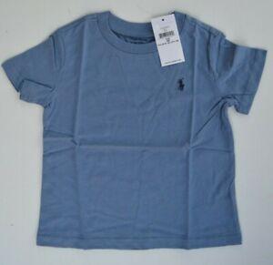 RALPH LAUREN blue grey logo Tshirt top Polo T-shirt childrens boys 3 - 24 MONTHS