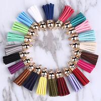 10pcs DIY Handmade Suede Leather Tassel Pendant Key Chains Bag Accessories