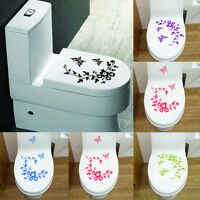 Flower Toilet Seat Wall Sticker Bathroom Decoration Decals Decor Butterfly TDO