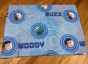 Disney Pixar Toy Story Twin Bed Flat Sheet Woody Buzz Rex Blue Sheet