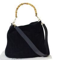 Authentic GUCCI Logo Bamboo 2Way Shoulder Hand Bag Suede Leather Black 07EY078