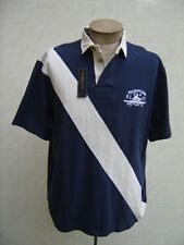Polo Ralph Lauren L Mens SASH Stripe Navy Shirt Twill Rugby Color Block Big Pony