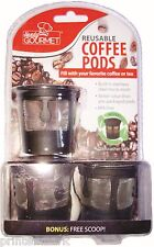 3 Reusable Coffee Pods k-Cups Tea Pods Micro Mesh Stainless Steel Filter No BPA