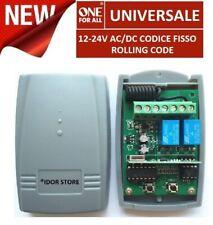 Ricevitore universale radio ricevente 433 Mhz 2 canali 12-24V FISSO ROLLING CODE