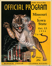 Missouri Tigers vs Iowa State 1934 College Football Program Poster Vintage