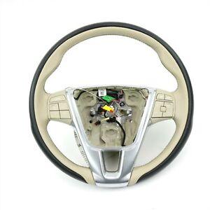 Volvo S60 V60 XC60 Black/Beige Leather Steering Wheel 31418286 w/Clockspring