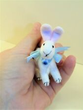 """Miniature Artist made non-jointed Standing Bunny Rabbit 3"""" OOAK by Beth Hogan"""