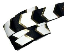 "5 yards Black, white & metallic gold chevron printed 1"" grosgrain ribbon"