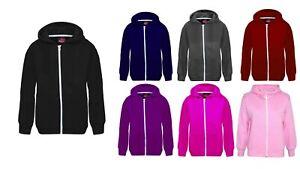 Unisex Children Girls Boys Hoody Plain Fleece Zip Up Hoodie Zipper 5-13 Years