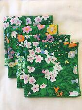 Vintage Green Floral Cotton Cocktail Napkins(Set Of 4)NWOT