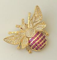 Vintage style Bee  Brooch pin enamel on gold metal with crystals