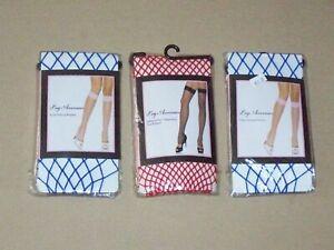 3 LEG AVENUE Sexy Blue Fence Net Leg Warmer & Red Thigh High Net club dance wear