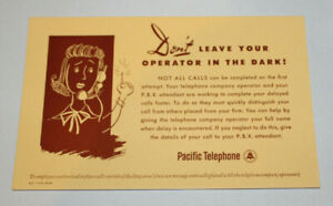 10 vintage advertising blotters Pacific Telephone Company Operator/PBX Attendant