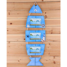 Nautical Wall Hanging Wooden Fish Triple Photo Frame Picture Album Holder