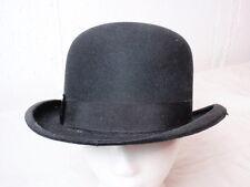 Vintage Black Wool Felt Derby Hat Bowler Banker Astoria Perfek-Felt Approx 6 7/8