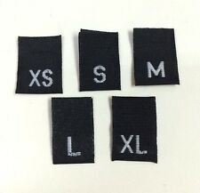 250 CLOTHING BLACK Woven Taffeta Size Labels Tabs Tags (50 of XS, S, M, L, XL)