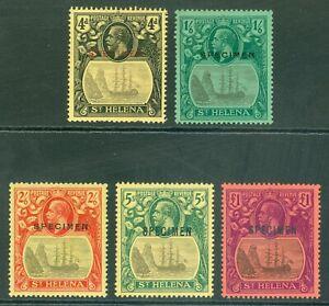 SG 92-96 St Helena 1922-37. 4d to £1 set of 5, overprinted specimen. Mounted...