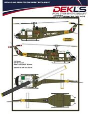 1/48 RAAF DECALS; UH-1B Iroquois 5 Squadron 1980s - White AIR FORCE titles