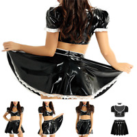 Women adults wet look french maid Cosplay Costume Outfit Clubwear Party Dress Up
