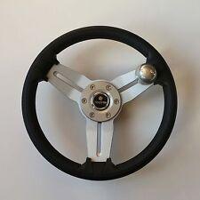 New OEM Gussi Boat Steering Wheel M15 Brushed Spoke Black Urethane Rim w/Knob