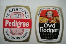 MINT PAIR MARSTON'S PEDIGREE & OWD RODGER BREWERY BEER LABELS
