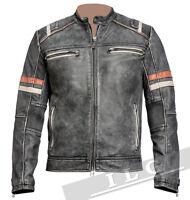 Men Vintage Biker Retro Motorcycle Cafe Racer Distressed Leather Jacket - FY