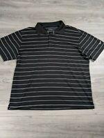 Men's Nike Golf Dri Fit Black White Striped Golf Polo Shirt Size XL
