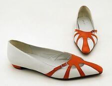 Ballerinas Daniel Hechter kleiner Blockabsatz Echtleder weiß orange Gr. 39