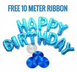 HAPPY BIRTHDAY FOIL BALLOONS FREE 10 METER MATCHING RIBBON PARTY DECOR BALLOONS