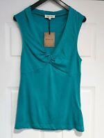 Super Massimo Dutti Sleeveless Green Top, V Neck, Cotton Blend, Size M, (10/12)