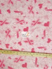 "CANCER AWARENESS FLEECE FABRIC - Pink Hearts - 60"" WIDTH SOLD BTY - 269"