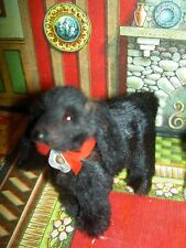 Lovely miniature, labeled Germany, antique black Lowchen dollhouse size dog