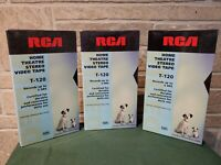 Lot of 3 New Blank VHS Tapes RCA T-120 6 Hour Home Theater Stereo Video Tape VCR