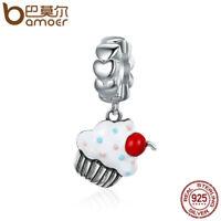 BAMOER .925 Sterling silver Charm Enamel cupcake Dangle Fit bracelet Jewelry