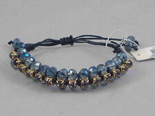 Kenneth Cole Goldtone Woven Faceted Blue Bead Smoke Crystal Pulley Bracelet $35