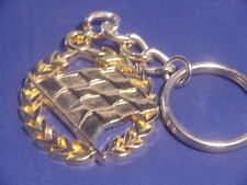 checkered flag laurel gold plated  keychain auto dirt Nascar racing jewelry