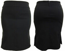 "NEW Womens black Ladies Girls 21"" pencil stretch FITTED school skirt size 8-18"