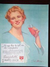 1934 Campbell'sTomato Juice Penrhyn Stanlaws Art Original Print Ad