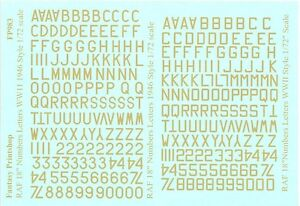 """Fantasy Printshop Decals 1/72 R.A.F.18"""" SKY LETTERS & NUMBERS WWII to 1946"""