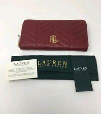 90039d3514 LAUREN RALPH LAUREN Carrington Quilted Zip Wallet Purse - Red