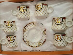 NEW 12pcs Espresso Coffee Set 6 cups /6 Saucer Gold and Red GG Design