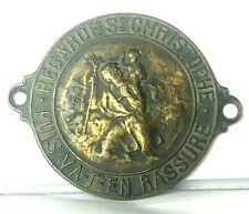 More details for 1930's french car dashboard st christopher plaque 54 x 44 mm
