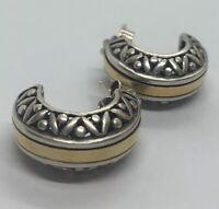 Vintage 14k Yellow Gold Sterling Silver Earrings 925 Hoops Designer Signed B