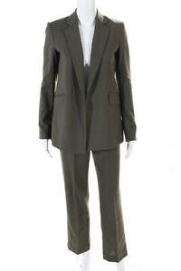 Theory Womens Wool Pants Suit Gray Size 00/0